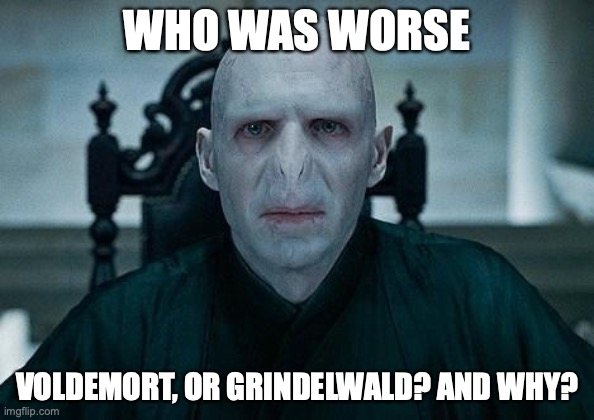 What do you think... |  WHO WAS WORSE; VOLDEMORT, OR GRINDELWALD? AND WHY? | image tagged in lord voldemort,grindelwald,harry potter,fantastic beasts and where to find them | made w/ Imgflip meme maker