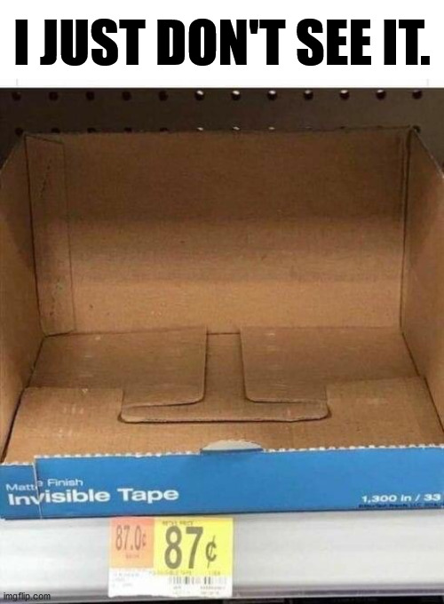 Some of you will see the joke. |  I JUST DON'T SEE IT. | image tagged in invisible,stupid humor | made w/ Imgflip meme maker