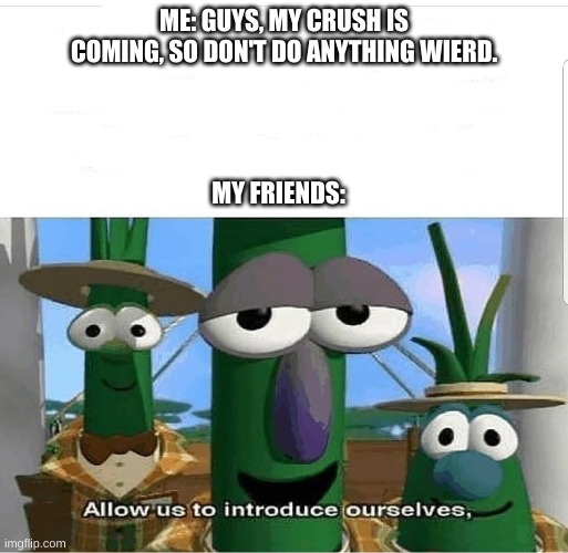 Allow us to introduce ourselves |  ME: GUYS, MY CRUSH IS COMING, SO DON'T DO ANYTHING WEIRD. MY FRIENDS: | image tagged in allow us to introduce ourselves | made w/ Imgflip meme maker