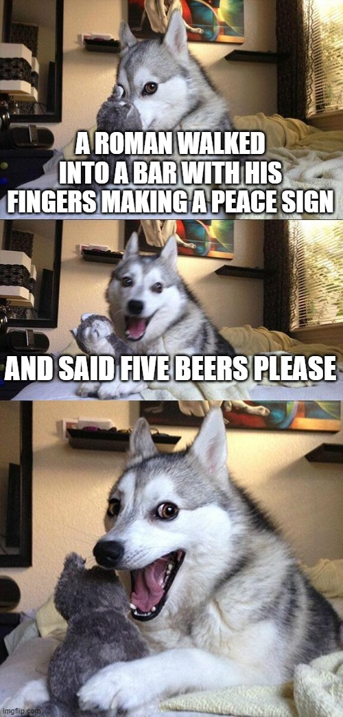 You have big if you get it |  A ROMAN WALKED INTO A BAR WITH HIS FINGERS MAKING A PEACE SIGN; AND SAID FIVE BEERS PLEASE | image tagged in memes,bad pun dog,romans,funny memes,meme | made w/ Imgflip meme maker