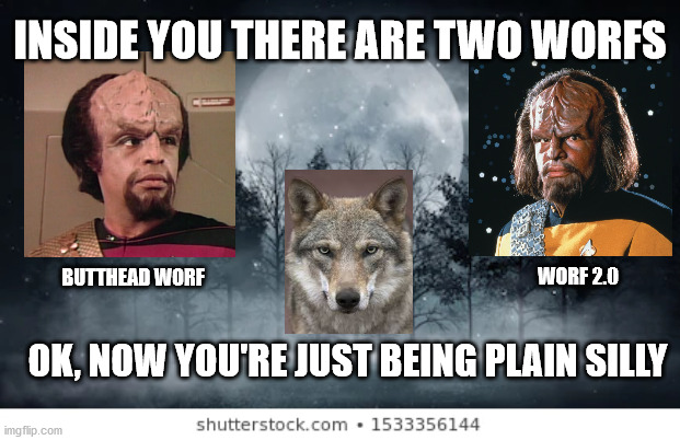 Two Worfs |  INSIDE YOU THERE ARE TWO WORFS; WORF 2.0; BUTTHEAD WORF; OK, NOW YOU'RE JUST BEING PLAIN SILLY | image tagged in wolves,wolf,worf,lieutenant worf,star trek,star trek the next generation | made w/ Imgflip meme maker