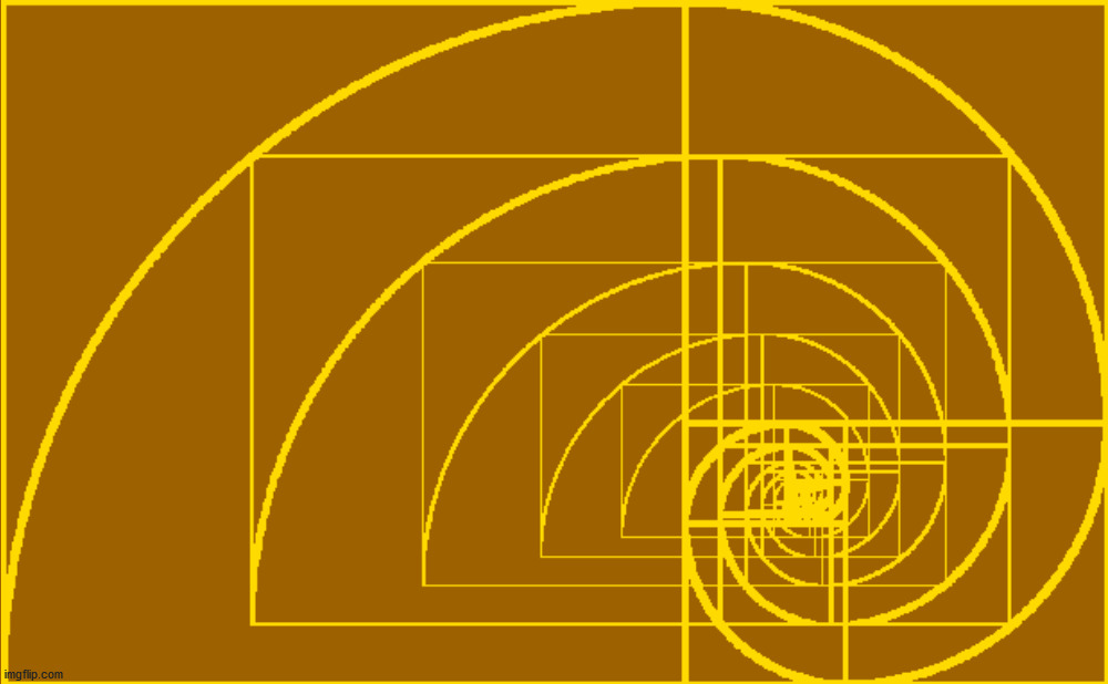 5 golden spirals turn into 10, or infinity. | image tagged in the golden ratio,fibonacci,math,geometry | made w/ Imgflip meme maker
