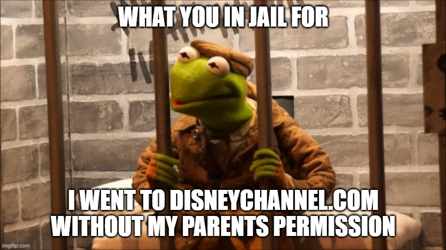 Kermit in jail |  WHAT YOU IN JAIL FOR; I WENT TO DISNEYCHANNEL.COM WITHOUT MY PARENTS PERMISSION | image tagged in kermit in jail | made w/ Imgflip meme maker