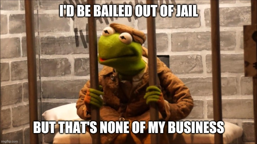 Kermit in jail |  I'D BE BAILED OUT OF JAIL; BUT THAT'S NONE OF MY BUSINESS | image tagged in kermit in jail | made w/ Imgflip meme maker