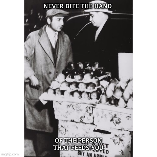 Mobster |  NEVER BITE THE HAND; OF THE PERSON THAT FEEDS YOU | image tagged in mobster,gangster,al capone | made w/ Imgflip meme maker