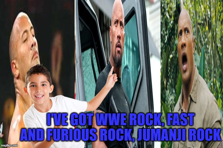 Distracted Boyfriend Meme | I'VE GOT WWE ROCK, FAST AND FURIOUS ROCK, JUMANJI ROCK | image tagged in memes,distracted boyfriend | made w/ Imgflip meme maker