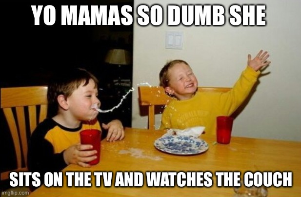 Yo Mamas So Fat |  YO MAMAS SO DUMB SHE; SITS ON THE TV AND WATCHES THE COUCH | image tagged in memes,yo mamas so fat | made w/ Imgflip meme maker