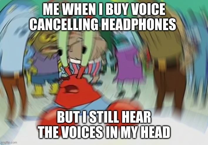 Mr Krabs Blur Meme |  ME WHEN I BUY VOICE CANCELLING HEADPHONES; BUT I STILL HEAR THE VOICES IN MY HEAD | image tagged in memes,mr krabs blur meme | made w/ Imgflip meme maker