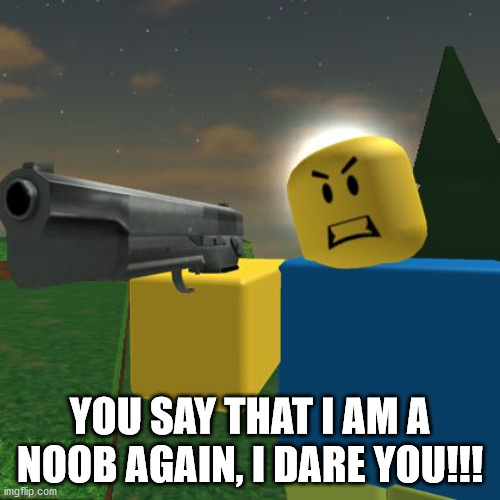 Say that I'm a noob >:( |  YOU SAY THAT I AM A NOOB AGAIN, I DARE YOU!!! | image tagged in roblox noob with a gun | made w/ Imgflip meme maker