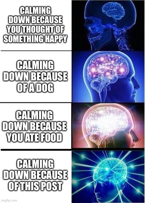 Expanding Brain Meme | CALMING DOWN BECAUSE YOU THOUGHT OF SOMETHING HAPPY CALMING DOWN BECAUSE OF A DOG CALMING DOWN BECAUSE YOU ATE FOOD CALMING DOWN BECAUSE OF  | image tagged in memes,expanding brain | made w/ Imgflip meme maker
