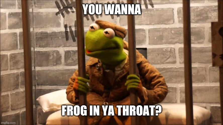 Kermit is your jailmate |  YOU WANNA; FROG IN YA THROAT? | image tagged in kermit in jail,kermit,jail,frog | made w/ Imgflip meme maker