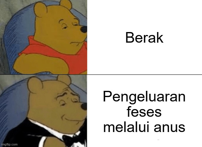 Tuxedo Winnie The Pooh |  Berak; Pengeluaran feses melalui anus | image tagged in memes,tuxedo winnie the pooh,indonesia | made w/ Imgflip meme maker