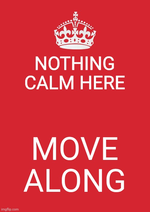 Keep Calm And Carry On Red |  NOTHING CALM HERE; MOVE ALONG | image tagged in memes,keep calm and carry on red | made w/ Imgflip meme maker