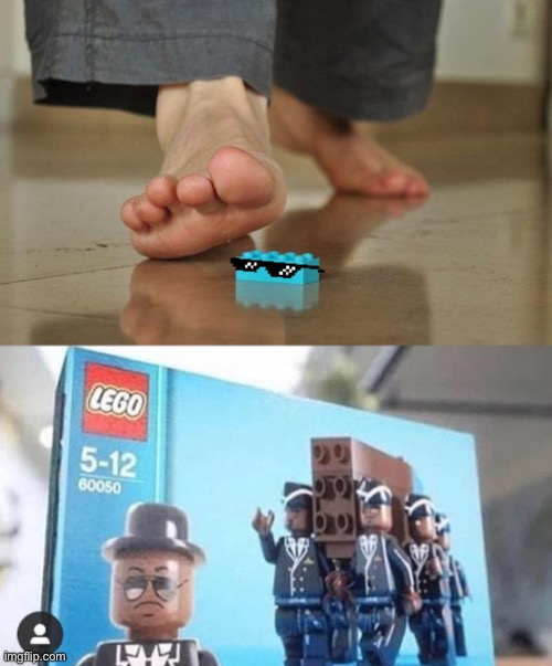 Poor foot... | image tagged in coffin dance,coffin meme,lego | made w/ Imgflip meme maker