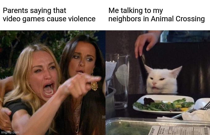 Woman Yelling At Cat Meme |  Parents saying that video games cause violence; Me talking to my neighbors in Animal Crossing | image tagged in memes,woman yelling at cat | made w/ Imgflip meme maker