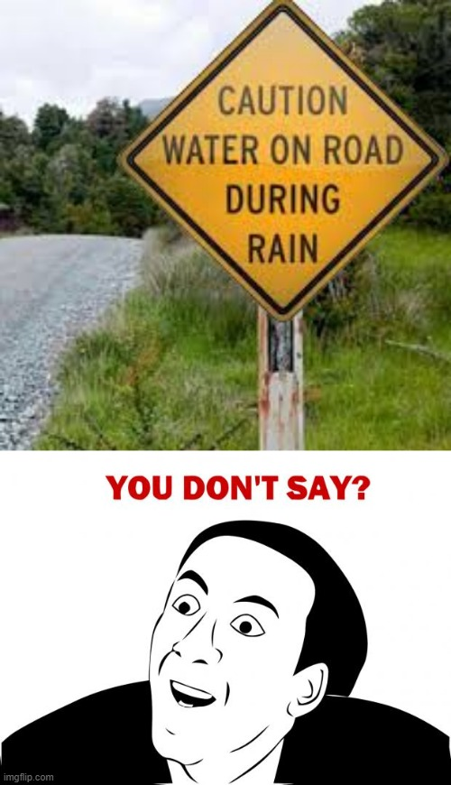 image tagged in memes,you don't say,water,road,rain,stupid signs | made w/ Imgflip meme maker