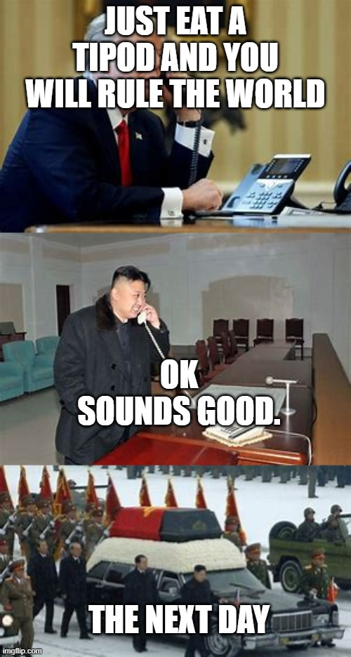 What tipods can do |  JUST EAT A TIPOD AND YOU WILL RULE THE WORLD; OK SOUNDS GOOD. THE NEXT DAY | image tagged in kim jong un | made w/ Imgflip meme maker