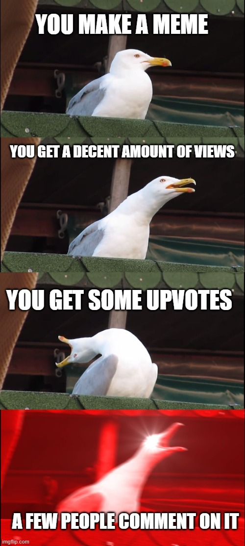 Inhaling Seagull Meme |  YOU MAKE A MEME; YOU GET A DECENT AMOUNT OF VIEWS; YOU GET SOME UPVOTES; A FEW PEOPLE COMMENT ON IT | image tagged in memes,inhaling seagull | made w/ Imgflip meme maker