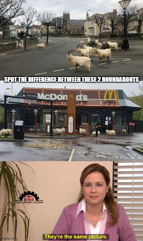 SPOT THE DIFFERENCE BETWEEN THESE 2 ROUNDABOUTS | image tagged in same picture,mcdonalds,drive thru,roads,2020,lockdown | made w/ Imgflip meme maker