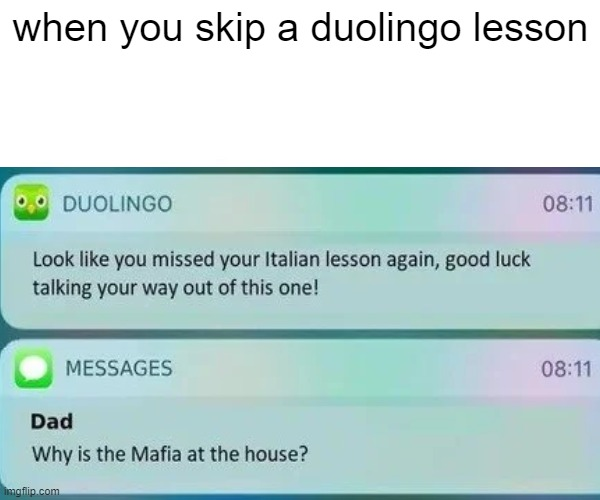 dont skip ur doulingo classes |  when you skip a duolingo lesson | image tagged in duolingo,memes | made w/ Imgflip meme maker