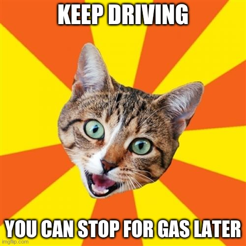 Keep going, keep going, almost there, almost...there...... |  KEEP DRIVING; YOU CAN STOP FOR GAS LATER | image tagged in memes,bad advice cat,driving,gas station,good luck | made w/ Imgflip meme maker