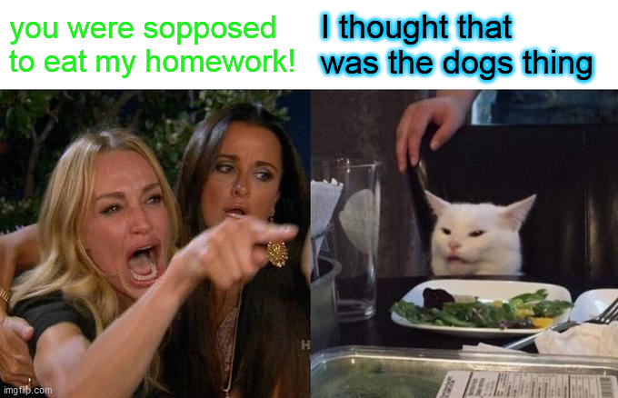 Woman Yelling At Cat Meme |  you were sopposed to eat my homework! I thought that was the dogs thing | image tagged in memes,woman yelling at cat | made w/ Imgflip meme maker