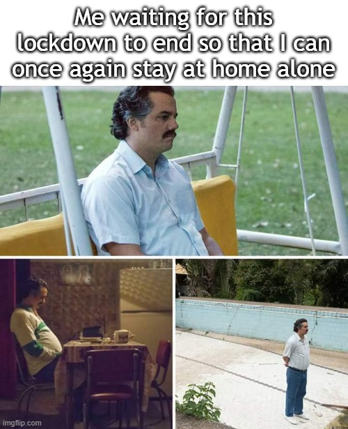 I wanna be alone at home |  Me waiting for this lockdown to end so that I can once again stay at home alone | image tagged in memes,sad pablo escobar,home alone,alone,funny memes | made w/ Imgflip meme maker