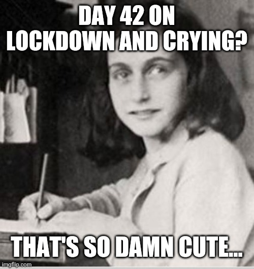 Anne Frank |  DAY 42 ON LOCKDOWN AND CRYING? THAT'S SO DAMN CUTE... | image tagged in anne frank | made w/ Imgflip meme maker