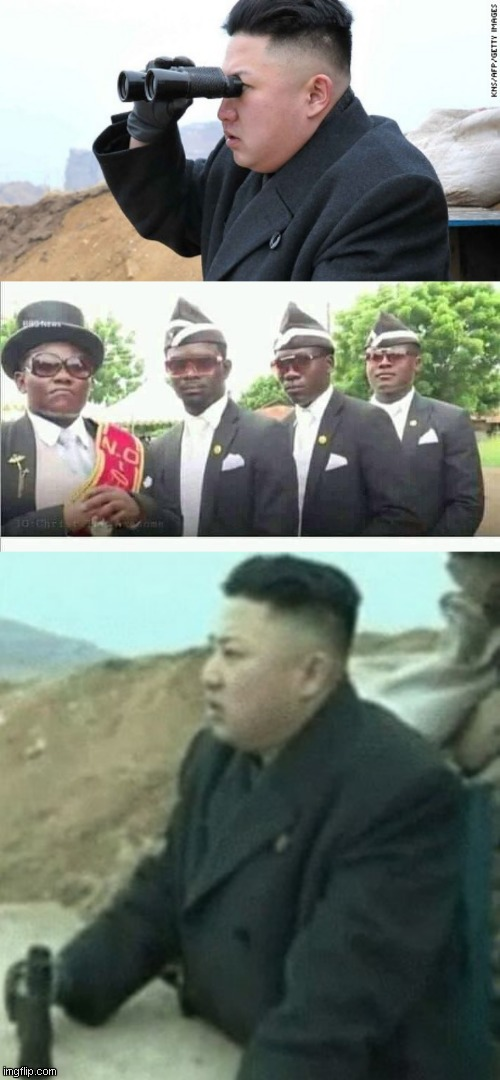 credit goes to @wroetoshaw on twitter. | image tagged in kim jong un binoculars,coffin dance | made w/ Imgflip meme maker