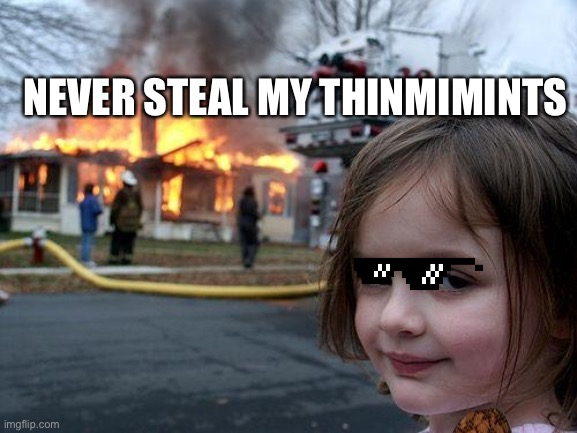 Disaster Girl |  NEVER STEAL MY THINMIMINTS | image tagged in memes,disaster girl | made w/ Imgflip meme maker