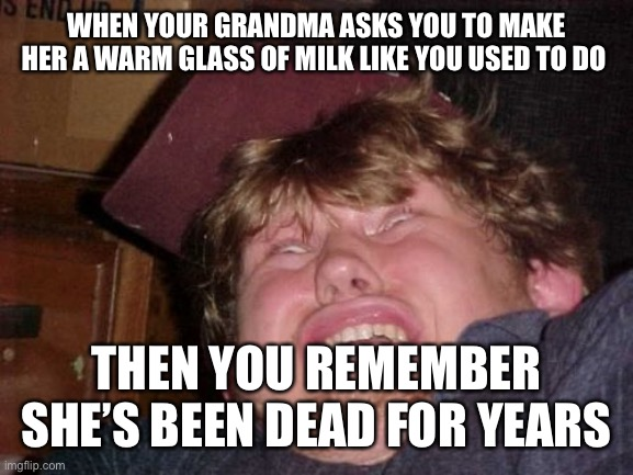 When there's something strange in your neighborhood. . . |  WHEN YOUR GRANDMA ASKS YOU TO MAKE HER A WARM GLASS OF MILK LIKE YOU USED TO DO; THEN YOU REMEMBER SHE'S BEEN DEAD FOR YEARS | image tagged in memes,wtf | made w/ Imgflip meme maker