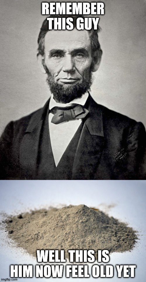i just had to do it |  REMEMBER THIS GUY; WELL THIS IS HIM NOW FEEL OLD YET | image tagged in abraham lincoln,pile of dust | made w/ Imgflip meme maker