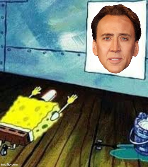 all hail nicolas cage | image tagged in spongebob worship,nicolas cage | made w/ Imgflip meme maker
