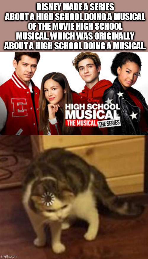 wait, what? |  DISNEY MADE A SERIES ABOUT A HIGH SCHOOL DOING A MUSICAL OF THE MOVIE HIGH SCHOOL MUSICAL, WHICH WAS ORIGINALLY ABOUT A HIGH SCHOOL DOING A MUSICAL. | image tagged in loading cat,disney,high school,netflix,funny,memes | made w/ Imgflip meme maker