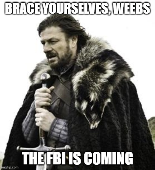 The FBI is Coming |  BRACE YOURSELVES, WEEBS; THE FBI IS COMING | image tagged in ned stark,manga,weebs,weeb,fbi,loli | made w/ Imgflip meme maker