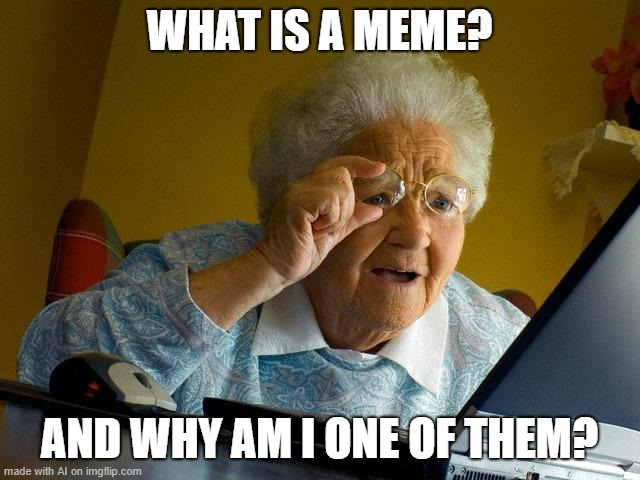 Grandma has a question |  WHAT IS A MEME? AND WHY AM I ONE OF THEM? | image tagged in memes,grandma finds the internet | made w/ Imgflip meme maker