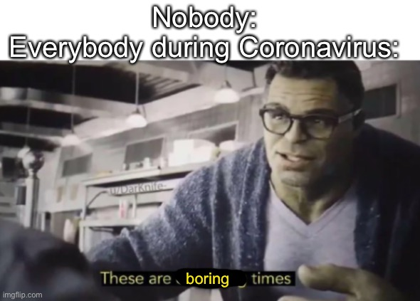These are confusing times |  Nobody: Everybody during Coronavirus:; boring | image tagged in these are confusing times | made w/ Imgflip meme maker