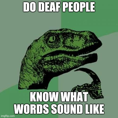 Philosoraptor |  DO DEAF PEOPLE; KNOW WHAT WORDS SOUND LIKE | image tagged in memes,philosoraptor | made w/ Imgflip meme maker