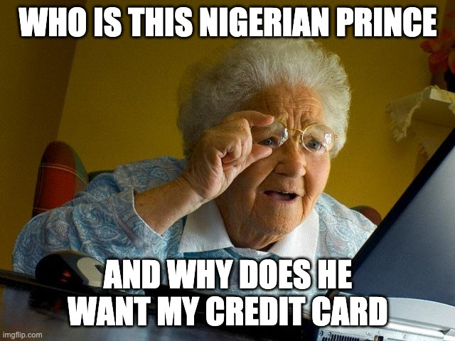 Grandma Finds The Internet |  WHO IS THIS NIGERIAN PRINCE; AND WHY DOES HE WANT MY CREDIT CARD | image tagged in memes,grandma finds the internet | made w/ Imgflip meme maker