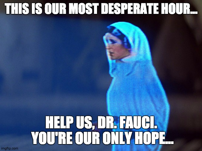 Princess Leia Hologram |  THIS IS OUR MOST DESPERATE HOUR... HELP US, DR. FAUCI.  YOU'RE OUR ONLY HOPE... | image tagged in princess leia hologram | made w/ Imgflip meme maker