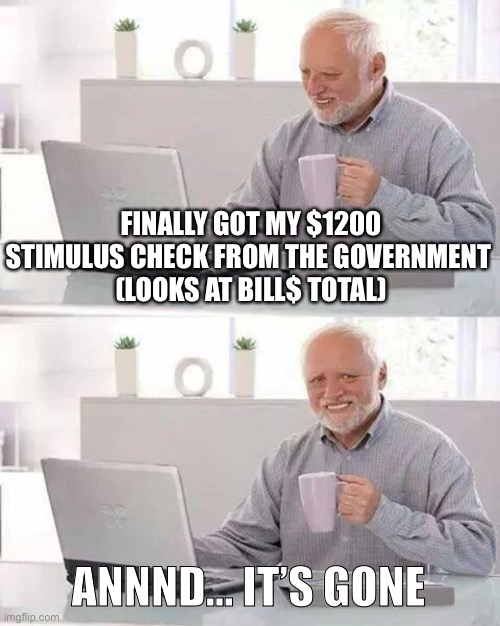 Hi I'm from the government and I'm here to help |  FINALLY GOT MY $1200 STIMULUS CHECK FROM THE GOVERNMENT  (LOOKS AT BILL$ TOTAL); ANNND... IT'S GONE | image tagged in hide the pain harold,government,check,coronavirus,funny memes | made w/ Imgflip meme maker