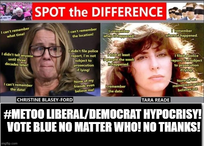 #METOO Liberal/Democrat Hypocrisy! Vote Blue No Matter Who! No Thanks! |  #METOO LIBERAL/DEMOCRAT HYPOCRISY!  VOTE BLUE NO MATTER WHO! NO THANKS! | image tagged in stupid liberals,democrats,creepy joe biden,biden,ConservativeMemes | made w/ Imgflip meme maker