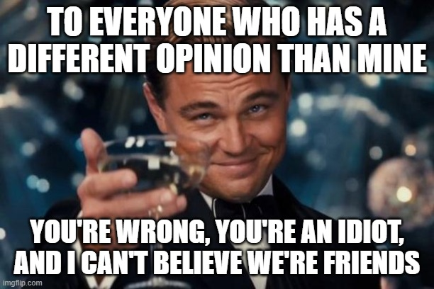 Leonardo Dicaprio Cheers |  TO EVERYONE WHO HAS A DIFFERENT OPINION THAN MINE; YOU'RE WRONG, YOU'RE AN IDIOT, AND I CAN'T BELIEVE WE'RE FRIENDS | image tagged in memes,leonardo dicaprio cheers | made w/ Imgflip meme maker
