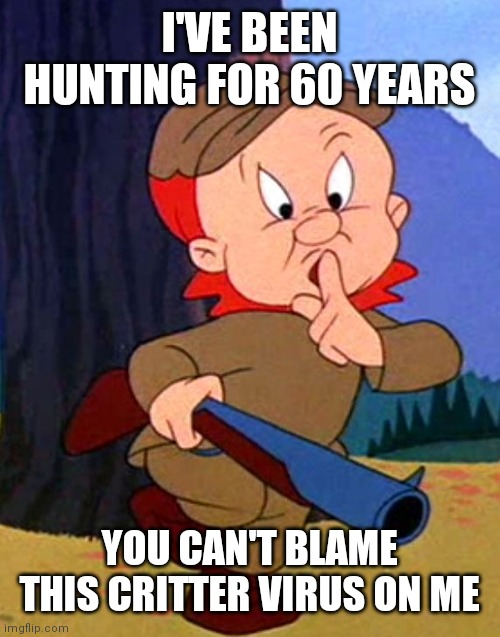 This mess is just wovely |  I'VE BEEN HUNTING FOR 60 YEARS; YOU CAN'T BLAME THIS CRITTER VIRUS ON ME | image tagged in elmer fudd | made w/ Imgflip meme maker