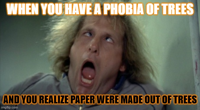 Yeah...I Think I Am Gonna Avoid That |  WHEN YOU HAVE A PHOBIA OF TREES; AND YOU REALIZE PAPER WERE MADE OUT OF TREES | image tagged in memes,scary harry | made w/ Imgflip meme maker