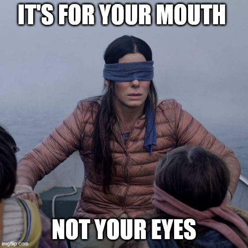Bird Box |  IT'S FOR YOUR MOUTH; NOT YOUR EYES | image tagged in memes,bird box,covid-19,coronavirus,face mask | made w/ Imgflip meme maker