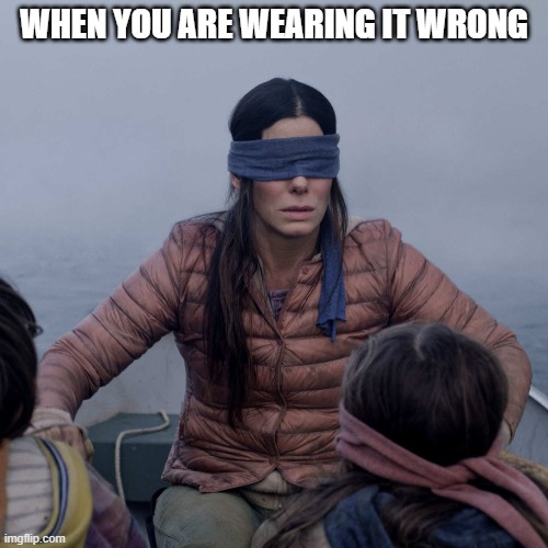 Bird Box |  WHEN YOU ARE WEARING IT WRONG | image tagged in memes,bird box | made w/ Imgflip meme maker