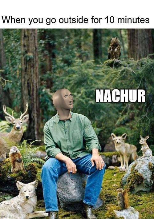 Meme man nachur |  When you go outside for 10 minutes; NACHUR | image tagged in arnold nature,meme man,nature,meme,memes,original meme | made w/ Imgflip meme maker