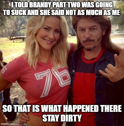 Joe dirt ugly |  I TOLD BRANDY PART TWO WAS GOING TO SUCK AND SHE SAID NOT AS MUCH AS ME; SO THAT IS WHAT HAPPENED THERE STAY DIRTY | image tagged in memes,joe dirt,funny,dirty | made w/ Imgflip meme maker