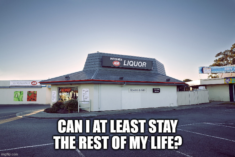 pizza hut liquor store | CAN I AT LEAST STAY THE REST OF MY LIFE? | image tagged in pizza hut liquor store | made w/ Imgflip meme maker